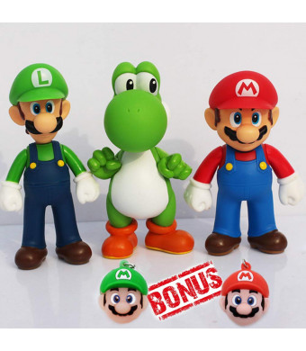 PantShop Super Mario Toys  Mario and Luigi Figurines  Yoshi and Mario Bros Action Figures  Set of 3 Mario PVC Toy Figures for Kids and Adults  Premium Cake Toppers + 2 Keychains  Great Geek Present