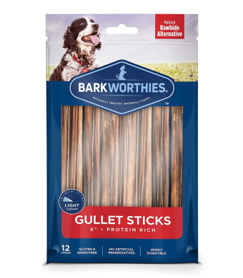 Barkworthies Beef Gullet Stick Dog Chews Healthy Dog Treats - Protein-Packed, All Natural Rawhide Alternative - Highly Digestible Dog Treat - Promotes Dental Health - 6, 12 per Pack