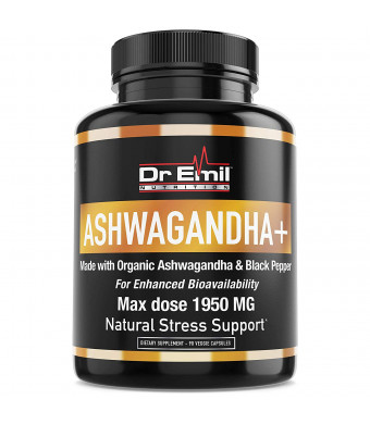 Organic Ashwagandha Capsules (Max Strength - 1950 mg) with Black Pepper For Absorption - 100% Pure Root Powder Extract - Vegan, Non-GMO and Additive-Free Supplement for Natural Stress Relief and Mood Boos
