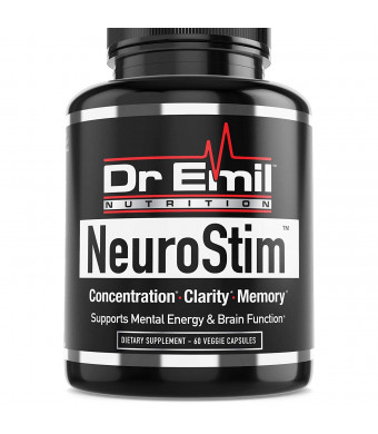 Dr. Emil NeuroStim - Nootropic Brain Supplement for Memory, Focus, Clarity and Concentration with Huperzine A, DMAE and Glutamic Acid (60 Veggie Capsules)