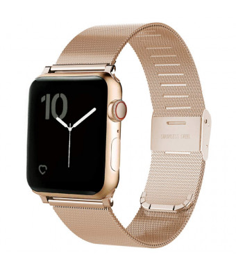MAIRUI Compatible with Apple Watch Band Milanese Loop 44mm, Woven Mesh Stainless Steel Metal Bracelet for iWatch 4 (Rose Gold)