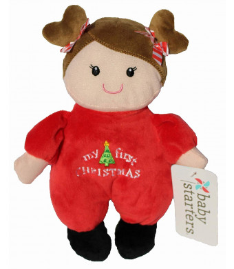 My First Christmas Rattle Baby Doll - Brown Hair - 9 inch