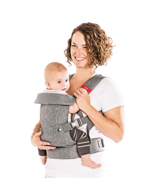 You+Me 4-in-1 Convertible Baby Carrier with 3D Cool Air Mesh - Heather Grey - Wear with a Newborn as Small as 8 lbs, and Infants up to Toddler of 32 pounds.