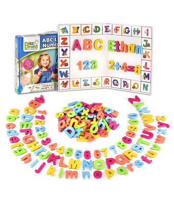 BizzyBrainz Magnetic Letters with Magnetic Board - 105 Letters, Numbers and Symbols for Hours of Educational Fun - Fridge Magnets for Kids with Storage Bag and 2 Bonus eBooks