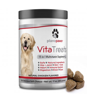 Vita Treats - Dog Vitamins and Supplements - Hemp Oil for Dogs - Glucosamine Chondroitin for Dogs - Omega 3 Fish Oil for Skin and Coat - Probiotics - Dog Joint Supplement - 120 Dog Multivitamin Chews