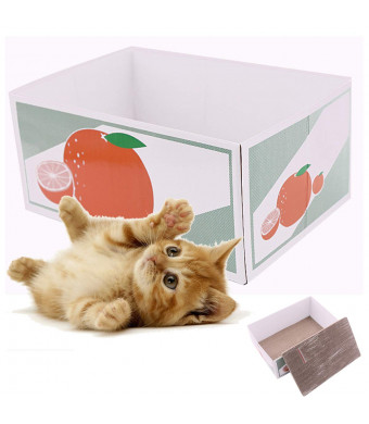TEEMO Funny Cat Cardboard Toy,Scratching Post, 2 Pieces in one Box.Catnip Included.