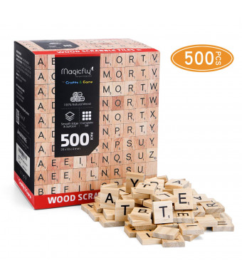 Magicfly 500Pcs Scrabble Tiles, Wood Craft Scrabble Letters Word Tiles, A-Z for Wood Gift Decoration and Scrabble Crossword Game