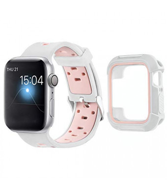 MAIRUI Compatible with Apple Watch Band with Case 40mm, Silicone Breathable Replacement with Rugged Bumper Protective Case for iWatch Series 4 (WhiteandPink)