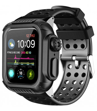Lilycase Compatible with Apple Watch Band 44mm 40mm with Case,Shockproof Rugged Protective Cover and Bands Stainless Steel Clasp with Built-in Screen Protector for Apple Watch Series 4 (Black, 44mm)
