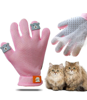 ENGERWALL Cat Dog Grooming Brush Supplies - Pet Grooming Gloves for Hair Remover and Brushes for Shedding, Great Deshedding Gloves for Horse Supplies,Grey Glove for Right Hand
