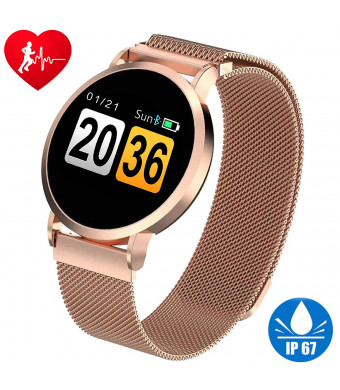 IP67 Waterproof Smart Watch for Women Sport Fitness Tracker Swim Wristband with Heart Rate Blood Pressure Monitor Calories Pedometer Counter Tracker Outdoor Activity Bracelet Best Birthday gift