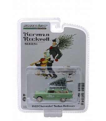 1955 Chevrolet Sedan Delivery Light Green Bob's Tree Farm with a Christmas Tree Norman Rockwell Delivery Vehicles Series 1 1/64 Diecast Model by Greenlight 37150 B