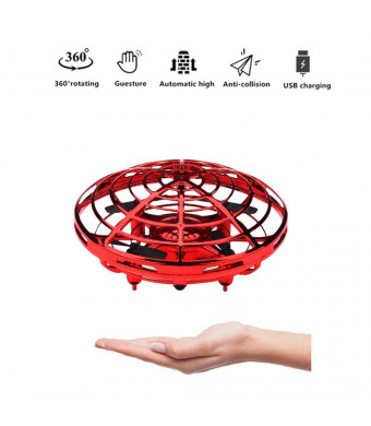 EC Industrial 360 Rotating Smart Mini UFO Drone for Kids, Hand-Controlled Drone Toy, Infrared Induction Interactive Drone Flyer Toys New (Red)