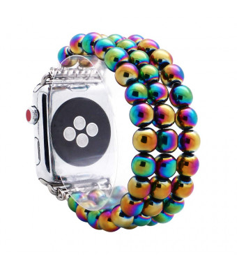 KAI Top Compatible with iWatch Band 38mm 42mm, Unisex Fashion Handmade Beaded Elastic Jewelry Bracelet Band Strap Replacement iWatch Bands Series 3 2 1 (Rainbow 8mm Bead, 38mm)