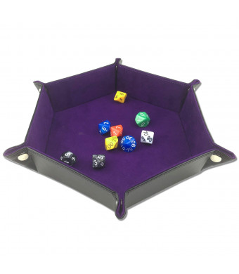 ELYTP Folding Hexagon Dice PU Leather Tray/Purple Velvet Valet Tray for Dungeons and Dragons Accessories RPG DND Dice Gaming Other Table Games and StoragePurple