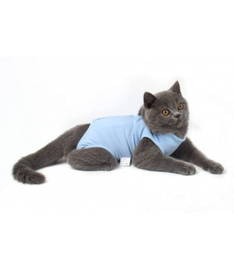 Due Felice Cat Professional Surgical Recovery Suit for Abdominal Wounds Skin Diseases, After Surgery Wear, E-Collar Alternative for Cats Dogs, Home Indoor Pets Clothing