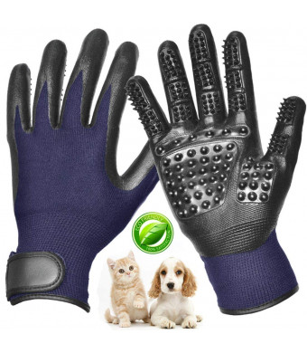Pet Grooming Glove Gentle De-Shedding Brush Glove Left and Right, Enhanced Five Finger Comb Glove Pet Massage Mitt Bathing Shedding Massage Tool for Long and Short Hair Dogs, Cats, Horses