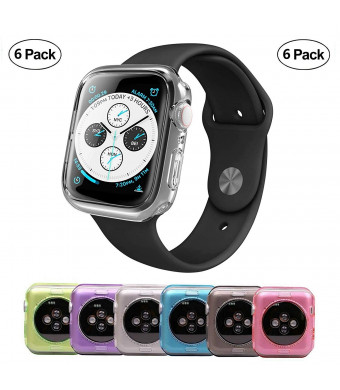 Tech Express 6 Pack Lot of Cases Clear, Pink, Blue, Gray, Green and Purple Color Bumper Protection for Apple Watch Series 4 [iWatch Cover] Rugged TPU Gel 40mm, 44mm Full Body Shockproof Lot of 6 (40mm)