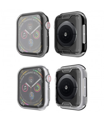 Tech Express 2 Pack Metallic Chrome + Clear Screen Protector Case for Apple Watch Series 4 [iWatch Cover] Rugged Skin TPU Gel Case Shockproof Tough Bumper Full Body (Black + Clear, 44mm)