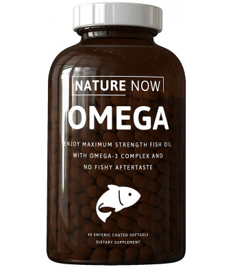 Nature Now: Omega - Omega 3 Complex Fish Oils - 60 Softgels - Support Heart, Joints, Mobility - Reduce Inflammation - Boost Your Mood - Improve Skin, Hair, Nails - Support Weight Loss