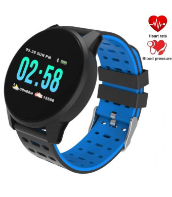 Fitness Tracker Watch Waterproof IP 67 Smart Watch with Heart Rate, Blood Pressure and Sleep Monitor Smart Bracelet Band Pedometer Calorie Monitor Activity Health Tracker for iPhone/Android (Blue)