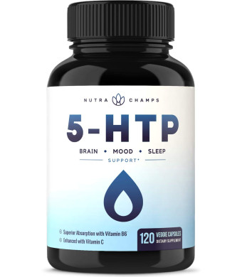 5-HTP 200mg Supplement - 120 Capsules - Naturally Supports Brain Health, Mood and Sleep - Natural Calm and Relaxing Serotonin Boost - Enhanced with Vitamin B6 and Vitamin C for Superior Absorption and Results