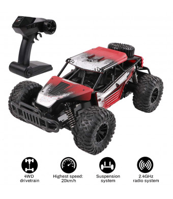 Electric RC Car 1:16 Scale 4WD Off Road Vehicle 2.4GHz Radio Remote Control Car 20km/h High Speed Racing Monster Truck with Rechargeable Battery for Kids and Adults (Red)