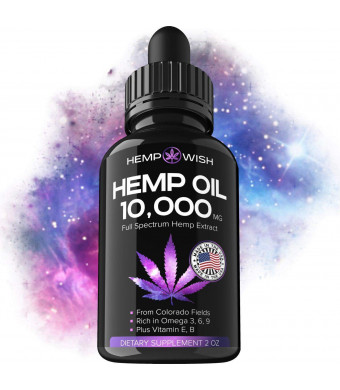 Hemp Oil for Pain Relief + Hemp Extract 10000 MG + Rich in Vitamin D and Vitamin E and Omega 3, 6, 9   Efficient Pain, Anxiety and Stress Relief   Made in USA   Anti-Inflammatory and Antioxidant Boost