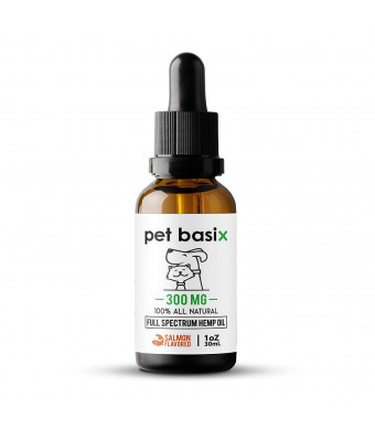 Full Spectrum Hemp Oil for Dogs, Cats Other Pets - Aids in Arthritis, Hip Dysplasia, Anxiety, Barking, Hip and Joint Pain, Cardiovascular Health, Skin and Coat - Salmon Flavored (300mg) 1oz