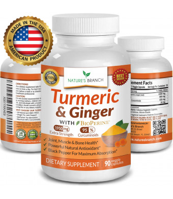 Extra Strength Turmeric Curcumin with Ginger and BioPerine  1950mg Joint Pain Relief Supplement for Inflammation with Black Pepper Powder - Premium Made in USA 100% Vegan Non GMO - 90 Capsules