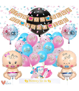 [55 Piece] Gender Reveal Party Supplies Kit For Baby Boy Or Girl  Gender Reveal Decorations Include Jumbo Confetti Balloon, pink/blue and champagne gold confetti, assorted pink and blue balloons (including 2 baby shaped balloons!), photobooth props, sash