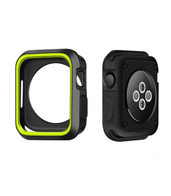 Marialove Compatible with Apple Watch Case Series 4 40mm/44mm, Shock Proof and Shatter-Resistant Protective Bumper Cover Replacement for iWatch Series 4 (Black/Yellow, 40mm)
