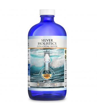 Silver Holistics Colloidal Silver Solution | 16 oz Liquid in Glass Bottle | Natural Immune Support Supplement | 10 PPM Ionic | Safe for Kids and Pets