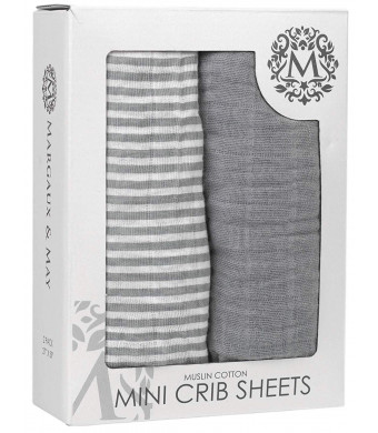 Premium Graco Pack n Play Mini Crib Sheets | 100% Muslin Cotton Pack and Play Fitted Sheet Set | 2 Pack | Perfect for Graco Playard and Mini Crib Mattress | Grey and Stripes Design - Margaux and May