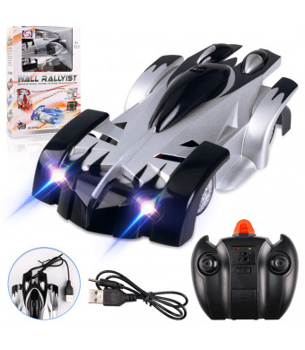 Remote Control Car Toy Rechargeable Car with Dual Mode 360 Rotating Stunt Car LED Head Gravity Defying (Black)