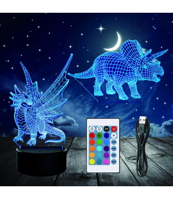 3D Night Light, Optical Illusion Dinosaur Night Lamp 16 Colors Changing with Remote Control, Decor LED Touch Table Desk Lamp for Home Office Kid's Room (2Pcs Acrylic Board)