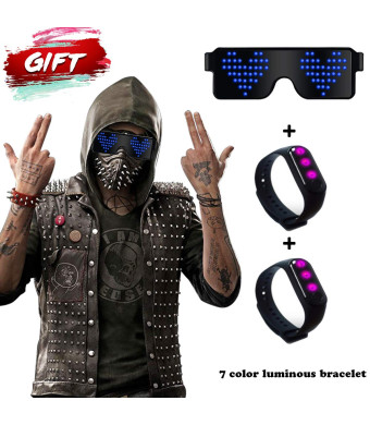 RICISUNG 2019 LED Sunglasses,Rechargeable Cool Party Light up Glasses can work in 8 Animation Modes for 10 Hours,For Nightclubs, Halloween, Birthday Parties, New Year's party Supplies (Blue)
