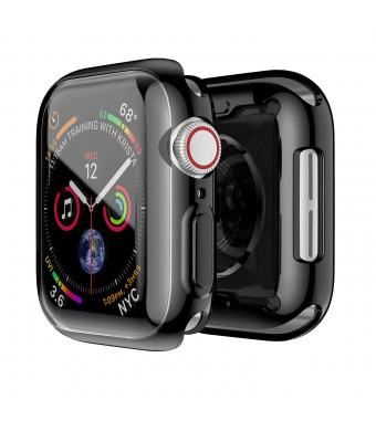 Smiling Apple Watch 4 Case with Buit in TPU Screen Protector 40mm - All Around Protective Case High Definition Clear Ultra-Thin Cover Apple iwatch 40mm Series 4(40mm Black, 40mm)