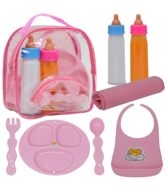 The New York Doll Collection Baby Doll Accessories, Doll Magic Bottles and Doll Feeding Set in A Bag