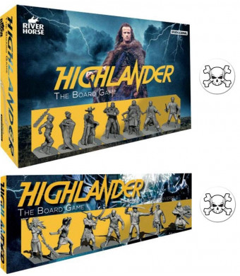 Bundle of Highlander Board Game and Expansion Plus Two Skull Buttons