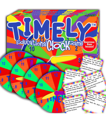 TIMELY - Best Learning Clock and Reading Game - Cool Math Games -Top Educational Play for Boys and Girls. - Perfect for Kids, Family Board Game. - Prime Gift for Elementary School Students.