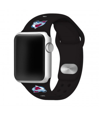 Game Time Colorado Avalanche Silicone Sport Band Compatible with Apple Watch - (42mm/44mm BLK)