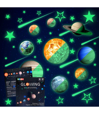 48pcs Glow in The Dark Stars and Planets Wall Stickers 9pcs with 28pcs stars and 10pcs shooting stars Bright Solar System Wall Stickers Glowing Planets Wall Decals for Kids Bedroom Living Room
