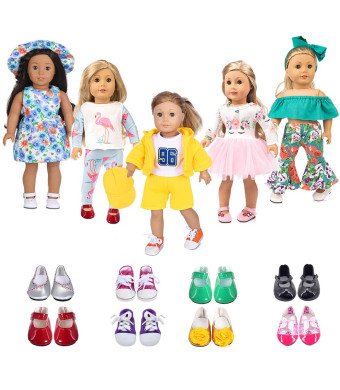 ebuddy 5 Sets Doll Clothes with 2 Pairs Shoes,Hat,Hair Band with Horn Style,Unicorn,Flamingo,Sports,Sun Flower for 18 inch Dolls Like American Girl,Our Generation