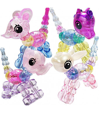 Ewong Animal Twist Bracelets for Girls, 4 PCS Magical Pets Snap Bracelets for Kids, Pull Apart Beads Into Toy, Girls Gifts (Horse/Mouse/Elephant/Rabbit)