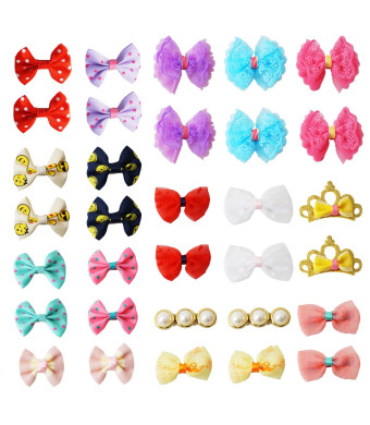 pony princess 32PCS Dog Bows Hair Accessories with Clip Pet Grooming Products Puppy Small Bowknot Handmade Mix Styles Small Middle Hair Bows Topknot