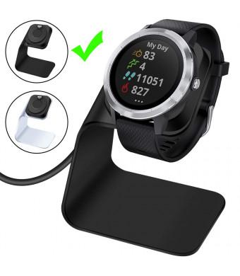 EZCO Compatible Garmin Vivoactive 3 Charger Dock Stand Cable, Premium Aluminm Charging Base Station USB Date Syn Compatible Garmin Vivoactive 3 / Vivoactive 3 Music Smartwatch, Black