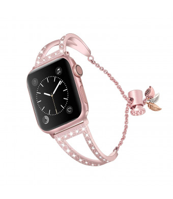 Bling Bracelet Compatible for Apple Watch Band 38mm 40mm for Women, Jewelry Rhinestone Bangle Stainless Steel Wristband for Iwatch Bands Adjustable Pendant (Rose Glod)