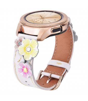 V-MORO Leather Strap Compatible with Galaxy Watch 42mm Bands Women 20mm Fashion Flowers Band with Stainless Steel Rose Gold Buckle for Samsung Galaxy Watch 42mm SM-R810 /Galaxy Watch Active 40mm White