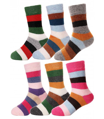 Girls Boys Wool Socks Thick Warm Thermal For Kid Child Toddlers Cotton Winter Crew Socks 6 Pairs